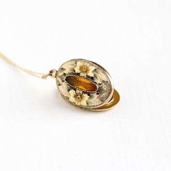 Antique Art Nouveau Flower Locket & Simulated Citrine Pendant Necklace - Gold Filled Vintage Early 1900s Edwardian Floral Photograph Jewelry