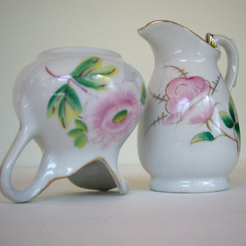 Vintage shabby cottage chic creamer from Japan 1960