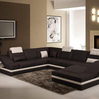 Divani Casa 5039 - Contemporary Bonded Leather Sectional Sofa with Side Storage