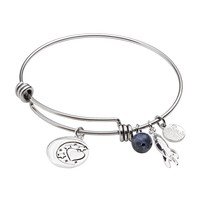 love this life Silver-Plated & Stainless Steel Sodalite Bead, Moon & Rocket Charm ''Love'' Bangle Bracelet (Blue)