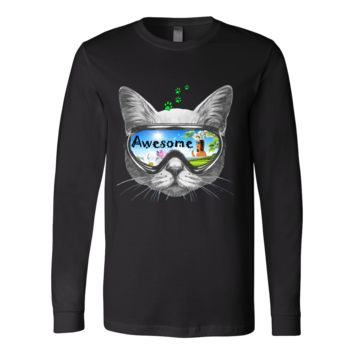 Awesome Glasses Cat Unisex Canvas Long Sleeve T-shirt (7 colors)