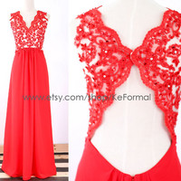Red Lace  Prom Dresses, Straps V Neck Lace Long Red Prom Gown with Open Back, Lace Long Formal Dresses, Long Chiffon & Lace Prom Gown