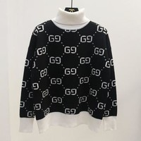 '' GUCCI ''HOT SALE Round neck letters printed long sleeve sweater high neck