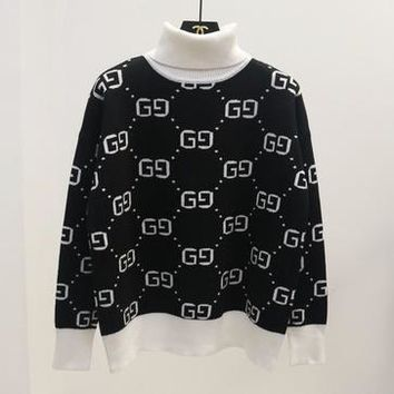 0ae900461c1 GUCCI   HOT SALE Round neck letters printed long sleeve sweat