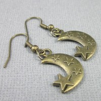 Moon star earrings antiqued brass crescents