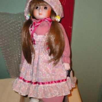 Rare 1986 Brinn' Collectible Musical Porcelain Doll