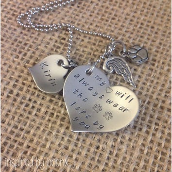 Personalized pet memory necklace, dog jewelry, pet memorial jewelry: The Paw prints left by you