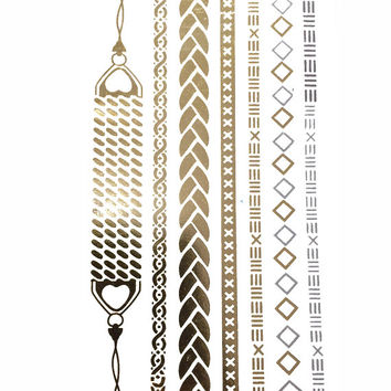 Gold Chains Metallic Temporary Tattoo Gold Silver Festival Beach Holiday Gift Present Flash Tattoo Birthday Anniversary