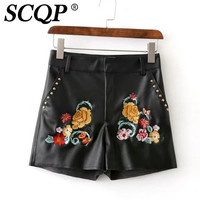 SCQP Black Cotton Embroidery Flower Womens Shorts 2016 Summer Leather Vintage Ladies Short Rivet Zipper Fiy Casual Women Shorts