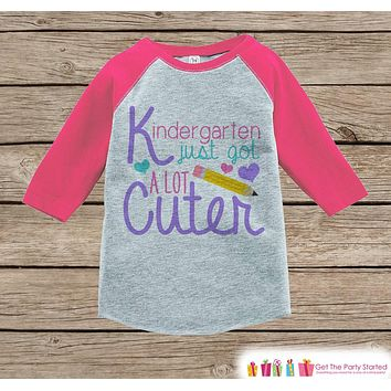 First Day of School Shirt - Girls 1st Day of Kindergarten Outfit - Girls Pink Raglan Tee - My 1st Day of School Tshirt - Back to School Top