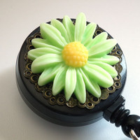 Magnetic Retractable ID Badge Reel Green and Yellow Daisy Resin Flower on Brass Filigree-Flower Badge Reel