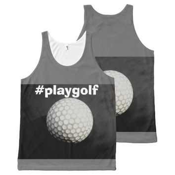 golf ball tank t with text #playgolf All-Over print tank top