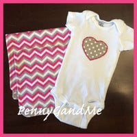 Personalized Pink Chevron Burp Cloths, Heart Appliqued One-Piece, Pink Chevron Gift Set