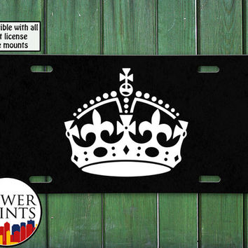 Keep Calm Crown Princess Queen Cute Gift Accessory For Front License Plate Car Tag One Size Fits All Vehicle Custom