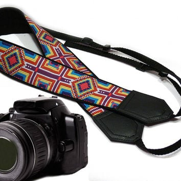 Ethnic Camera strap (not beaded). DSLR / SLR Camera Strap. Photo Camera accessories. For Sony, canon, nikon, panasonic, fuji and other cameras.