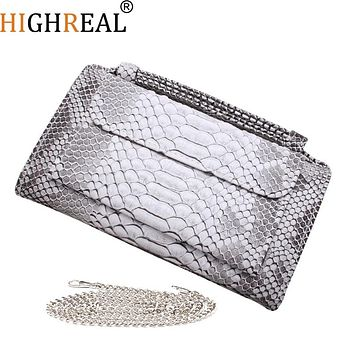 Genuine Leather Handbags 2019 New Women's Fashion Brands Luxury Tote Messenger Bags Chain Shoulder Bags Female Party Clutch Bag