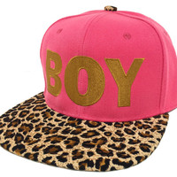 BOY Flat Bill Snapback Hat Hip Hip Cap Pink/ Leopard Bill