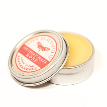 Southern Peach Rose Lip Balm - All Natural - Ripe Peach and Rose Blooms