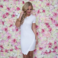 All the Right Angles Dress In White