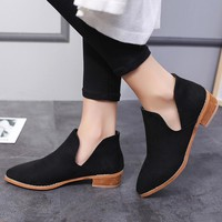 Women Buckle Ladies Faux Solid Warm Boots Ankle Boots Martin Shoes