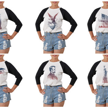 Women Set Of American Patriotic Emblems Print Elbow Sleeves T- Shirt WTS_03
