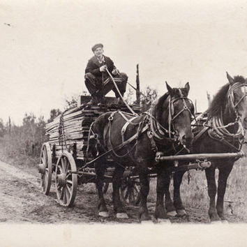 RPPC Postcard  Hauling Lumber for Ralph O'Hare LOGGING