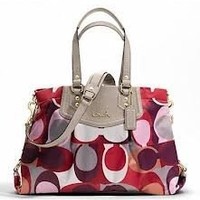 COACH Authentic Genuine Ashley Signature Scarf Print Carryall Womens Handbag Purse,MSRP $358!