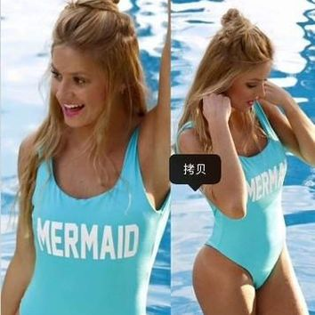 NEW WOMEN SWIMSUIT LETTER MERMAID SEXY ONE PIECES HIGH QUALITY FOR WOMEN BEACH & BATHING WEAR BIQUINI FEMMA