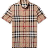 Burberry - Button-Down Collar Checked Linen and Cotton-Blend Shirt