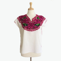 Vintage Mexican Blouse ~ Embroidered ~ Oaxacan ~ Floral ~ Cotton Top ~ One Size