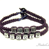 Tree Hugger Bracelets in Plum Purple with Silver Letters, Hemp Jewelry for Environmentalists and Nature Lovers