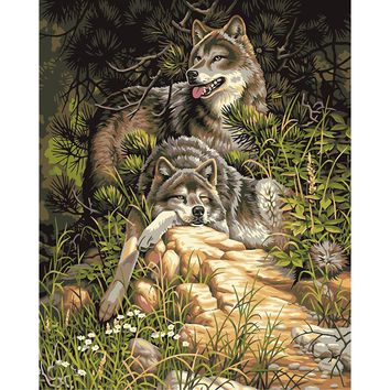 Frameless Wolf Animals DIY Painting By Numbers Acrylic Picture Wall Art Canvas Painting Hand Painted Home Decor 40x50cm Artwork