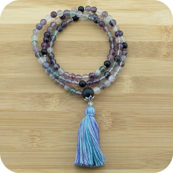 Fluorite Meditation Mala Beads Necklace with Matte Black Onyx