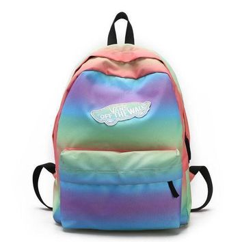 ICIKJL0 Vans Casual Rainbow School Shoulder Bag Satchel Backpack