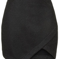 PETITE Tinsel Wrap Mini Skirt - Black