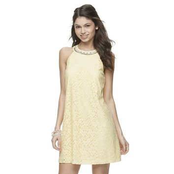 Juniors' Candie's® Embellished Lace Halter Dress