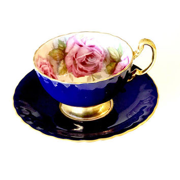 Aynsley Tea Cup, Cabbage Rose, Cobalt Blue Gold, English Bone China, 1960s, Tea Cup And Saucer, Signed J.A. Bailey, Vintage Tea Cup