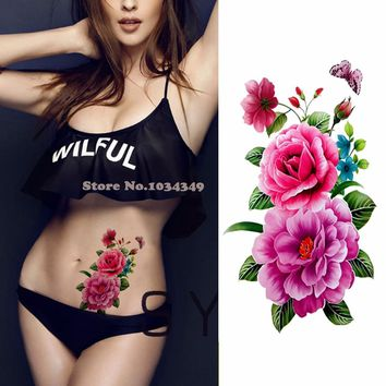 1 piece flash henna tattoo fake temporary tattoos stickers sweet rose peony flowers arm shoulder tattoo waterproof women on body