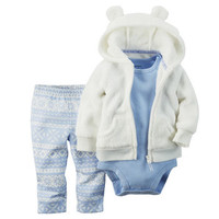 3-Piece Velboa Cardigan Set