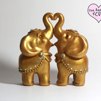 Decorated Gold Indian Elephant Wedding Cake Toppers - Includes Custom Banner with Initials and Wedding Date