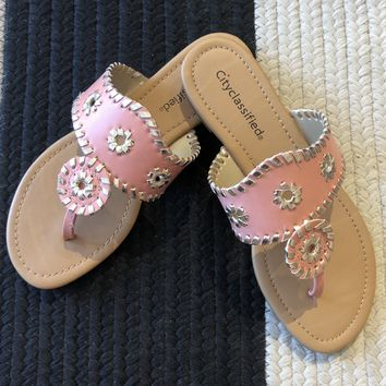 Nantucket Sandals in Salmon