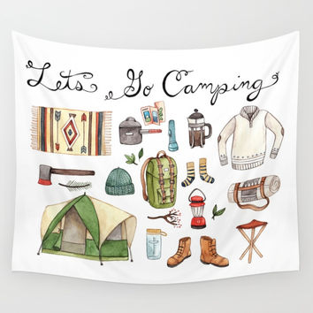 Let's Go Camping Wall Tapestry by bweeber