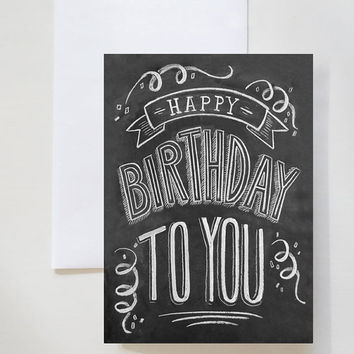 Boxed Set Of 8 Birthday Cards - Chalkboard Card - Unique Birthday Card - Chalkboard Art - Hand Lettering