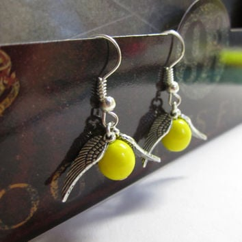 Harry Potter jewelry - Golden Snitch Earings