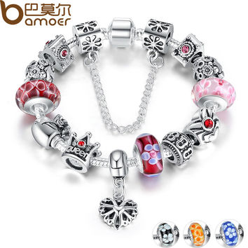 Bamoer Silver Plated Bracelet & Bangles With Queen Crown Hearts Charms Bracelet for Women European Beads Jewelry  PA1823