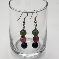 Dragon Vein Bead Earrings, Drop, Dangle Pink, Green, Brown, Ear Wires