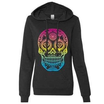 Neon Diamond Eyes Smiling Sugar Skull Ladies Lt./Wt. Hoodie