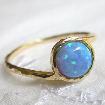 Opal ring, stacking ring, Gold filled ring, Delicate ring, Blue stone ring, Every day ring, Classic dainty ring, Textured ring