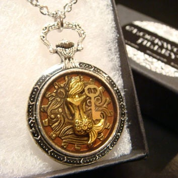 Mermaid With Golden Key Pocket Watch Style Steampunk Pendant Necklace (1921)