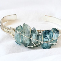 Mystic Blue Quartz Silver Bangle Bracelet